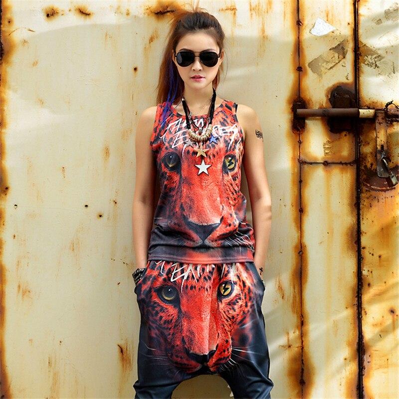 just be never hip hop women suits 2 pieces set vest and pants red tiger print
