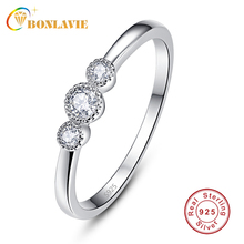 BONLAVIE 3pcs AAA Zircon Engagement Rings for Women Simple S925 Sliver Wedding Rings Female Round Crystals Jewelry Top Quality
