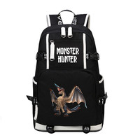 High Quality 2017 New Monster Hunter World Dinosaur Color Printing Laptop Backpack Canvas School Bags Large