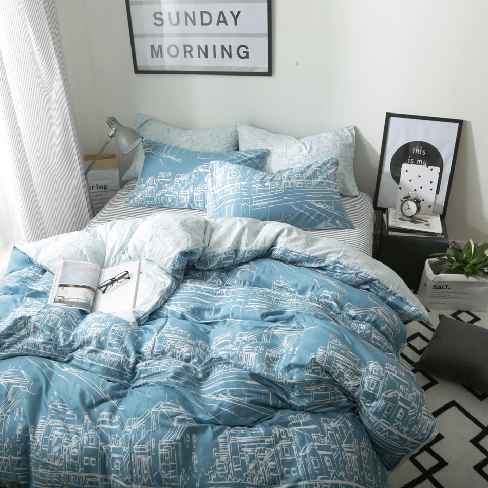 Blue and white bedding - Blue Bedding Sets White Sketch Printed Simple And Brief Comfortable Cotton Appropriate For Teenagers And Adults