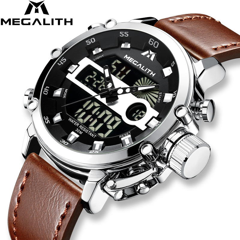 MEGALITH Men Sport Clock Luminous Waterproof Quartz Watch Men Multifunction Chronograph Wrist Watch Dropshipping Wholesale Price