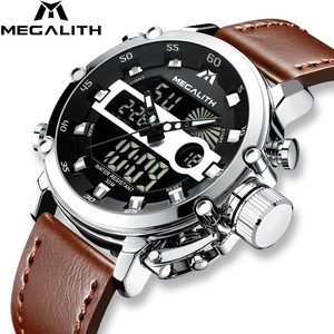 Image 2 - MEGALITH גברים ספורט שעון זוהר עמיד למים קוורץ שעון גברים משולב הכרונוגרף שעון יד Dropshipping סיטונאי מחיר