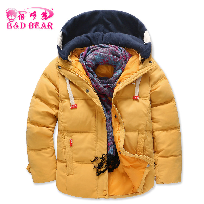 2017 Winter Children Boys Girls  Down Jacket Coat Fashion Hooded Thick Solid Warm Coat Boy Winter Clothing Outwear for 4-10 Yrs russia winter boys girls down jacket boy girl warm thick duck down