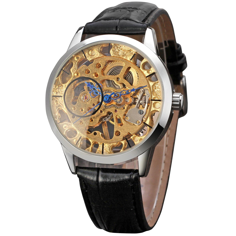 Winner Watch Män Gold Skeleton Mekaniska Armbandsur Man Klockor - Herrklockor