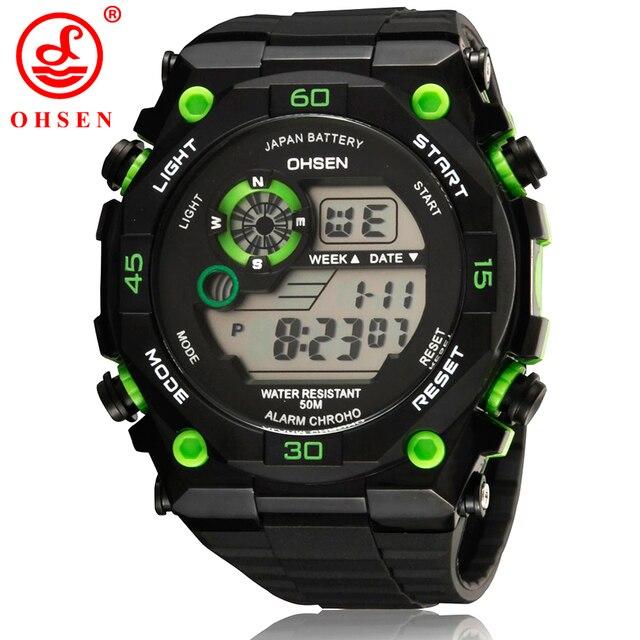 2017 Famous OHSEN Brand Boy Digital Chronograph Hombre Watch Sports Alarm Stopwa