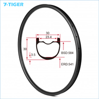 7 TIGER 27 5ER 30mm Wide Carbon MTB Bike 650B Rims Mountain Bicycle Rims For XC