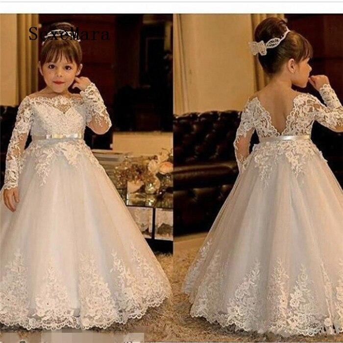 Flower Kid Girl Dress Long Sleeve Lace Tulle Princess Communion Formal Dresses