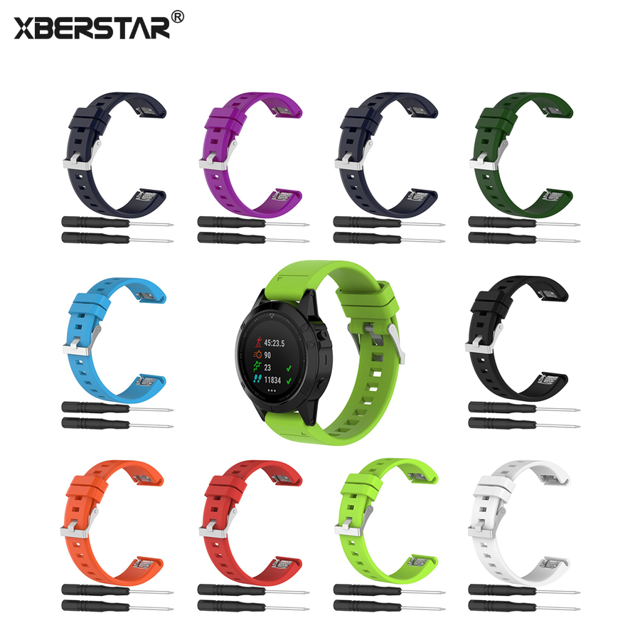 XBERSTAR Strap Watchband for Garmin Fenix 5 Fenix5 Multisport GPS Watch 22mm Sports Silicone Quick Release Wrist Band With Tools silicone watchband strap with pins for garmin vivoactive hr sports gps smart watch with tools