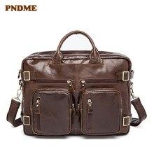 PNDME vintage leather men's briefcase large capacity shoulder Crossbody bags 14 inch laptop bag multi-function