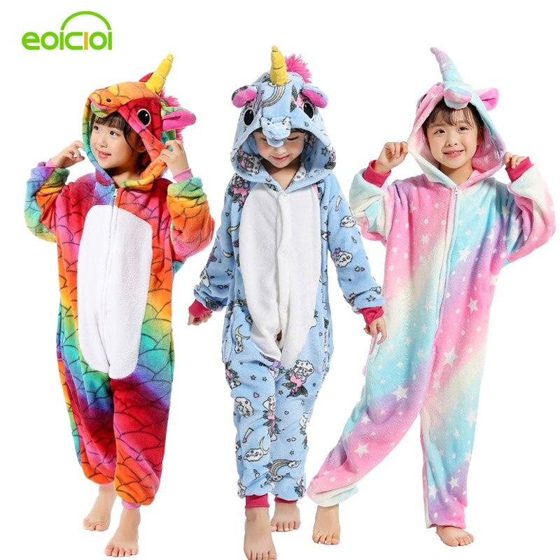 22 New Boys Girls Flannel Animal Pegasus Unicorn Cosplay Pijamas Onesies Winter Kids Pajamas Stitch Hooded Children Sleepwear