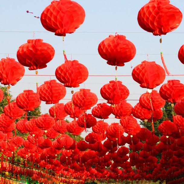 50 cái 6 inch Truyền Thống Trung Quốc Màu Đỏ Giấy Đèn Lồng Năm 2019 Năm Mới Giáng Sinh Trang Trí Treo Không Thấm Nước Lễ Hội Đèn Lồng