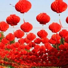 Farol de plástico rojo chino tradicional de 6 pulgadas, 50 piezas, decoración de Año Nuevo Chino, farolillos impermeables para Festival, 2021