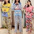 7 ARTÍCULOS MÁS EL TAMAÑO XL, ropa de Noche Del Pijama de Dibujos Animados, minion/doraemon/minnie Imprimir Camisa de Manga Larga y Pant, Mujeres Pijama Pijamas