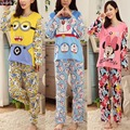 7 ITENS PLUS SIZE XL, Pijamas Dos Desenhos Animados Conjuntos de Pijama, minion/doraemon/minnie Imprimir Camisa de Manga Longa e Calça, Mulheres Pijama pijama