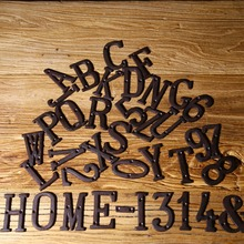 Metal Letters Numbers Cast Iron Decoration House Sign Doorplate DIY Cafe Wall Dropshipping FAS