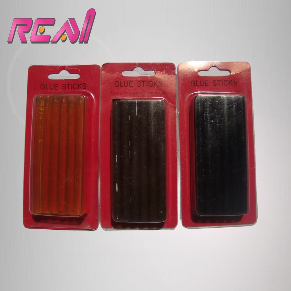 12 Шт. 0.7*10 См Кератин Клеевые стержни, Fusion Клей, Pre Bonded Glue Stick, коричневый, Белый И Черный, 3 Цвета В Наличии Дополнительных