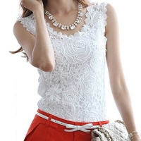 Blusas Femininas 2016 Summer Fashion Women Blouse Lace Elegant Sleeveless Black White Renda Crochet Casual Shirts