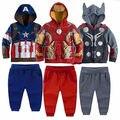 2 шт. мальчик дети супергерой толстовки с капюшоном куртки толстовка брюки костюмы 2-8Y