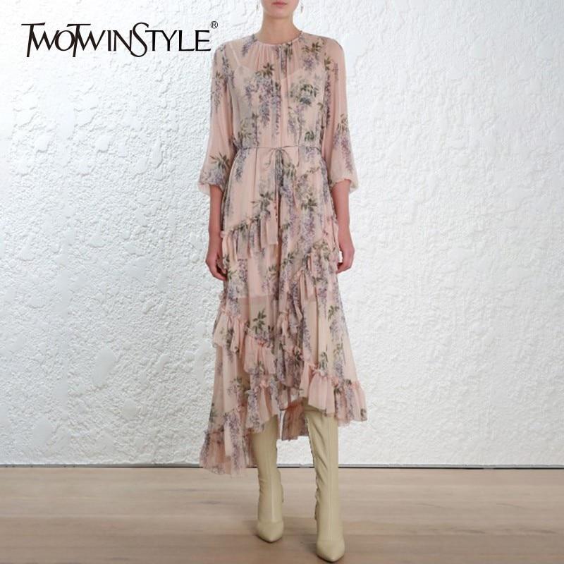 TWOTWINSTYLE Elegant Asymmetrical Midi Print Dress Female Long Sleeve Bandage Ruffle Women s Dresses Vintage Fashion