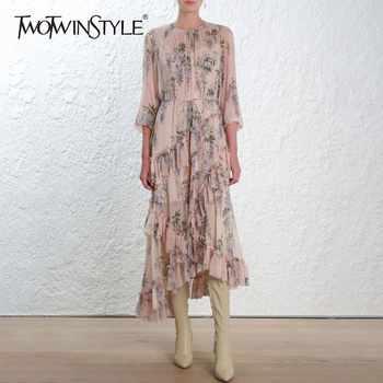 TWOTWINSTYLE Elegant Asymmetrical Midi Print Dress Female Long Sleeve Bandage Ruffle Women's Dresses Vintage Fashion Autumn 2019 - DISCOUNT ITEM  39% OFF All Category
