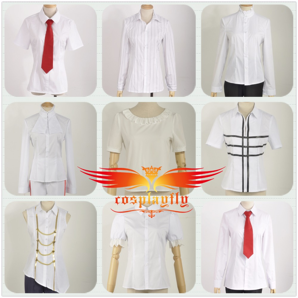 Lovely Women Lady Girl Cosplay Fashion Backing Shirt Undershirt Summer Suit For Adult White Shirt Top Coat Base Shirt For Cos