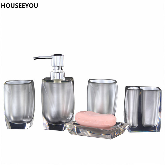 5pcs Set Bathroom Accessories European Resin Soap Dispenser Toothbrush Holder Dish Bath