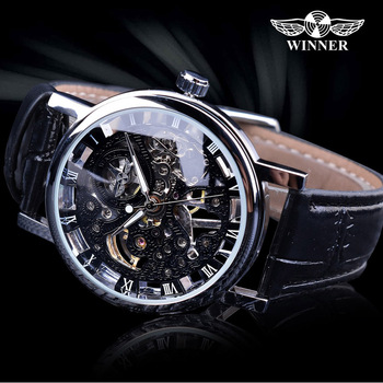 0a7f2f992d5a Ganador transparente de oro de lujo de diseño de relojes para hombre marca  de lujo esqueleto mecánico automático de FORSINING reloj