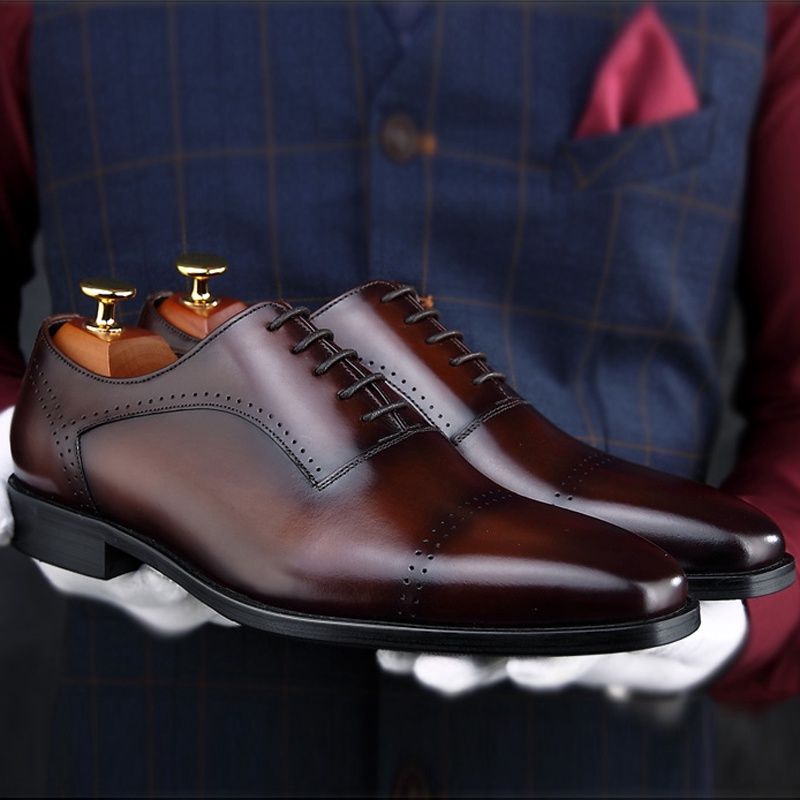 2018 New Vintage Round Toe Man Formal Dress Semi Brogue Shoes Genuine Leather  Carved Handmade Wedding Party Mens Footwear SS134 c47bbe7de0ed