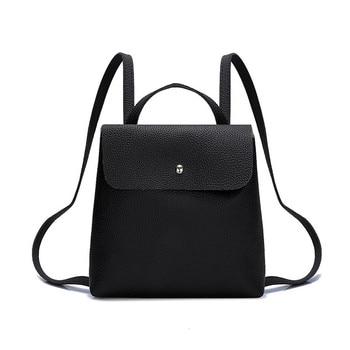 Women Fashion Pure Color Leather Mini School Bag Backpack Satchel Women Travel Shoulder Bag Girls Rucksacks Shopping Bags Ladies Сумка