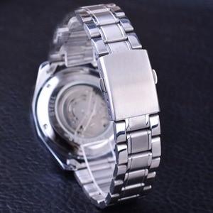 Image 4 - Forsining Militaire Sport Ontwerp Transparant Skeleton Dial Zilver Rvs Heren Horloges Top Brand Luxe Automatische Horloges