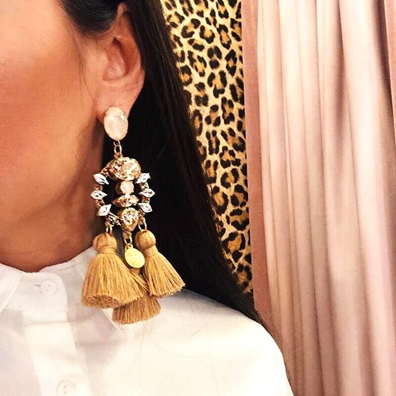 Charm Long Tassel Statement Earrings Boho Shiny Drop Dangle Earrings For Women Luxury Pendant Wedding Fringed Oorbellen 2019