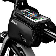 цена на Waterproof 1L Bike Bag Bicycle Frame Front Head Top Tube Cycling Bag Double Pouch 5.5 Inch Touch Screen Bicycle Bag Accessories