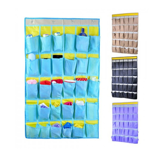 Household 30 Pockets Oxford Cloth Over Wall Door Closet Hanging