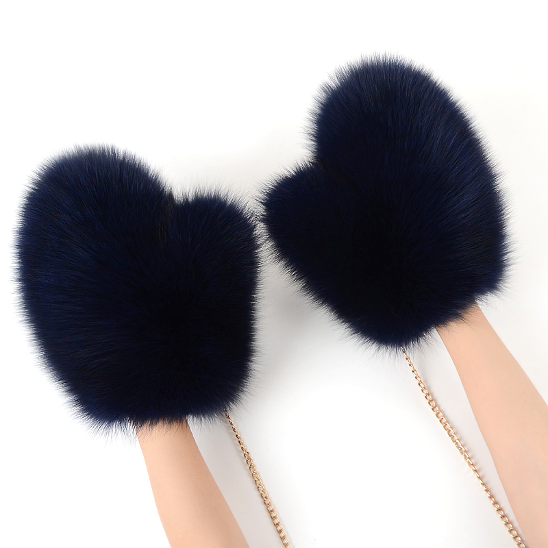 2018 new Women Fashion Brand New Genuine natural Woollen Fox Fur Covered Winter Gloves Mittens real fox fur glove JKP