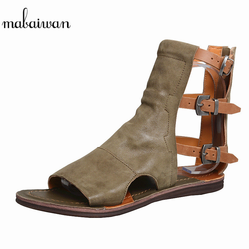 Mabaiwan Fashion Women Sandals Buckle Genuine Leather Slippers Ladies Gladiator Shoes Woman Summer Beach Roman Flats Flip FlopsMabaiwan Fashion Women Sandals Buckle Genuine Leather Slippers Ladies Gladiator Shoes Woman Summer Beach Roman Flats Flip Flops