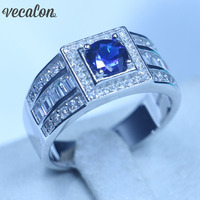 Real Soild 925 Sterling silver wedding Band rings for Men 1ct Blue AAAAA Zircon Cz Male Party Finger Ring Fine Jewelry