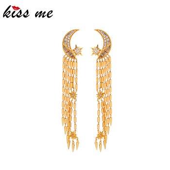 KISS ME Luxury Gold Color Zircon Moon Star Long Chain Tassel Drop Earrings For Women Gifts Brass Dangle Earrings New Accessory