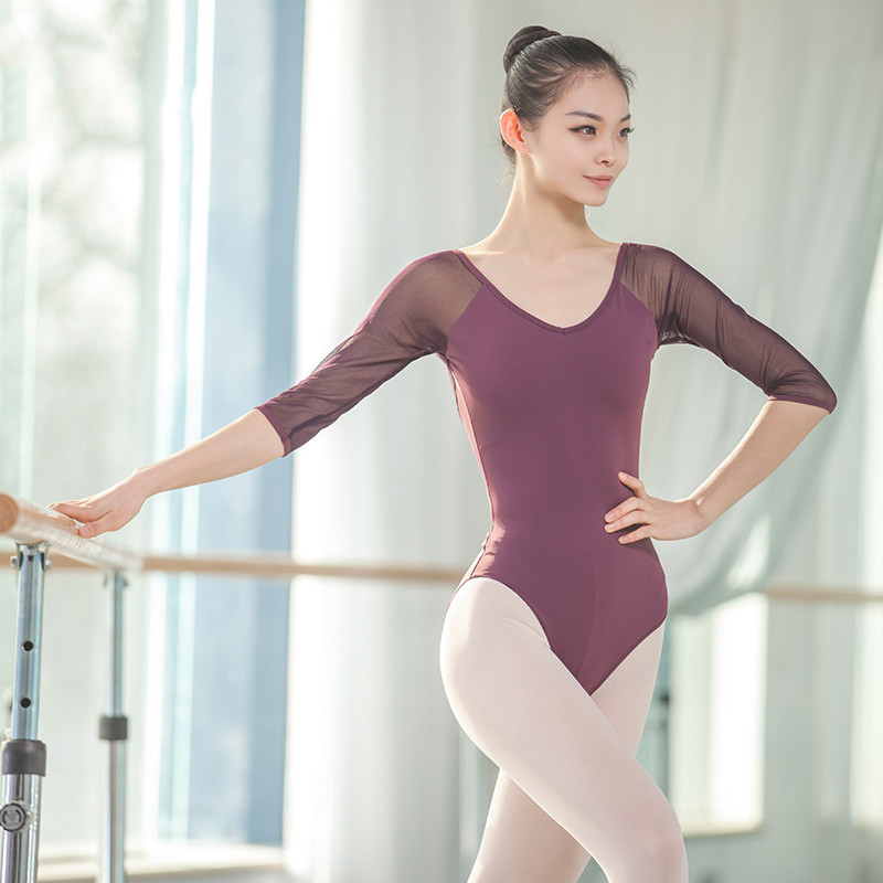 Backless Adult Bodysuits Half Sleeves Ballet Dance Practice Clothes Leotard Jumpsuit Gymnastics Plus Size 3XL With Chest Pad NEW