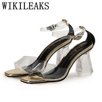 Ladies Jelly Shoes Crystal Thick With Transparent Sandals Women Designer Versio Luxury Brand Sexy Extreme High
