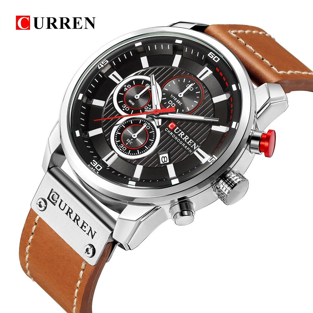 Curren 8291 marca de luxo homens analógico digital couro esportes relógios exército militar relógio homem quartzo relogio masculino