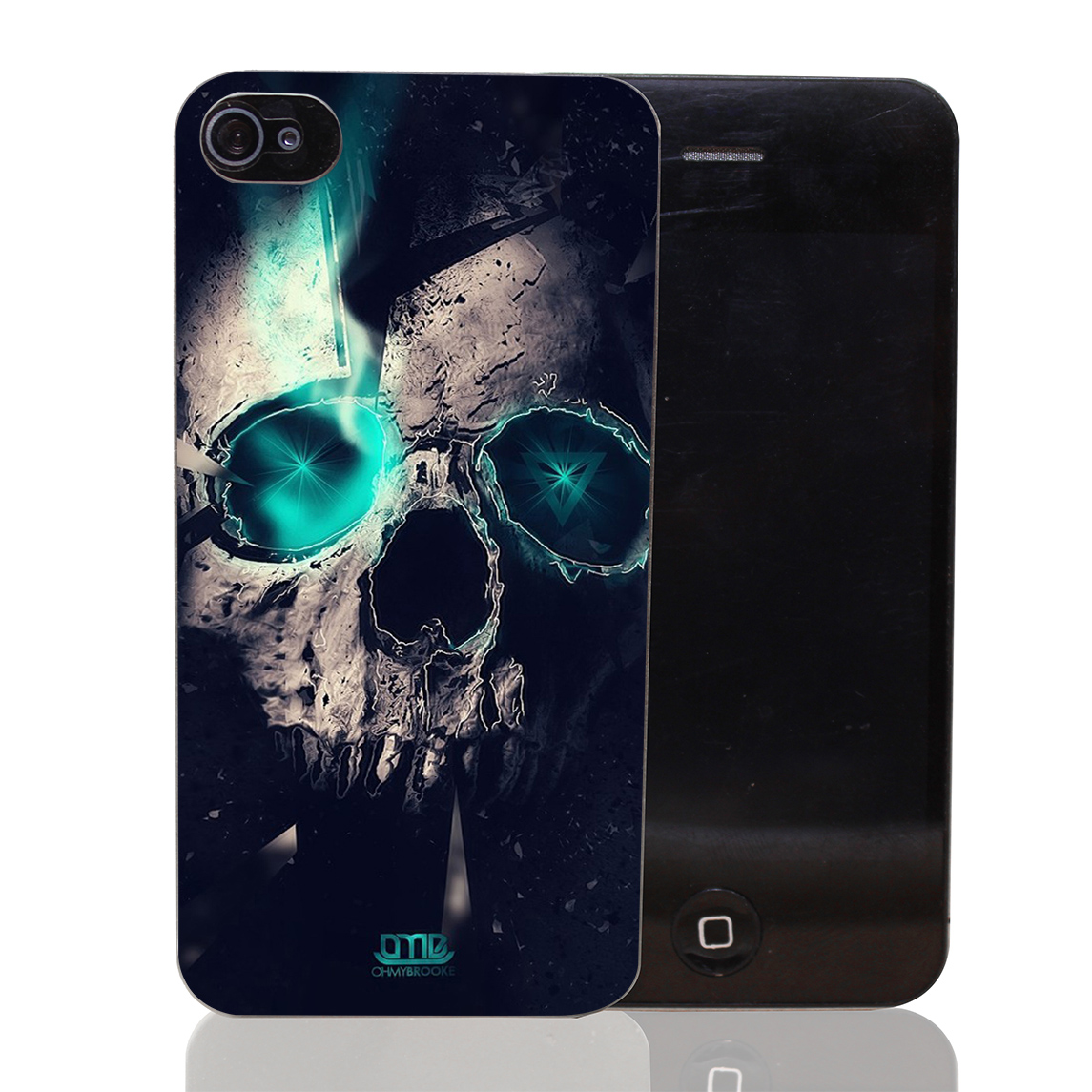 830T Blue Eyes Skull Head Hard Transparent Clear Case for iPhone 4 4s 5 5s SE 5c 6 6s 7 & Plus
