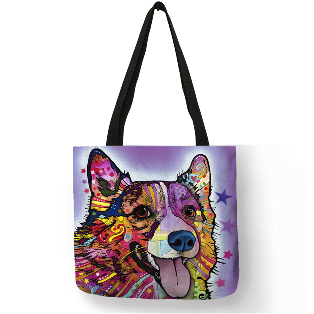 Personalized Oil Paint Bull Dog Terrier Print Tote Bag Linen Reusable Shopping Bags Women Fabric Handbags Customized Pattern