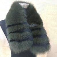 2018 зимние высококачественные мужские 100% натуральный мех лисы шарф wo мужские полосатые воротники из лисьего меха с кожаной пуговицей
