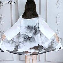 NiceMix HARAJUKU chinese style digit print 2018 summer kimono cardigan feminino outerwear sun protection shirts womens Modis