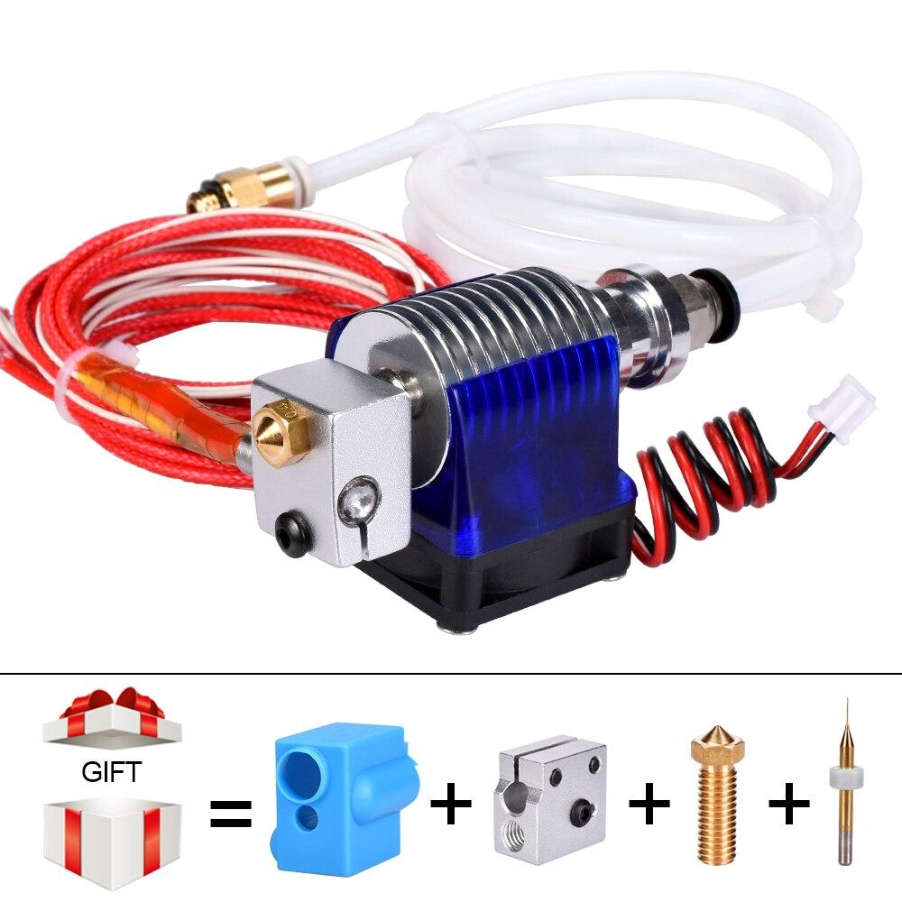 3D impresora j-head Hotend con ventilador para 1,75/3,0mm 12 V 3D v6 bowden filamento Wade extrusora 0,2/0,3/0,4mm boquilla + kit volcán