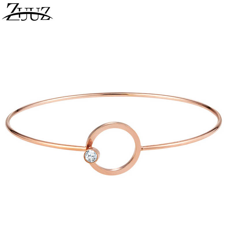 ZUUZ cuff bracelets fashion for women jewelry accessories bracelet bangles rose Rose gold stainless steel metal female bracelets