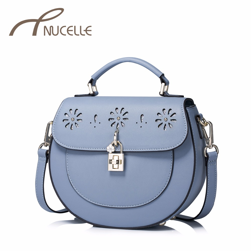 NUCELLE Women PU Leather Handbags Ladies Fashion Flower Hollow Out Messenger Tote Purse Female Leisure Brief Saddle Bag NZ41020