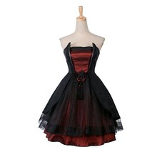 Gothic Palace Lolita Dress Women's Summer Dress 2017 Punk Black Red Party Palace Off Shoulder Strapless Dress Robe With Lace