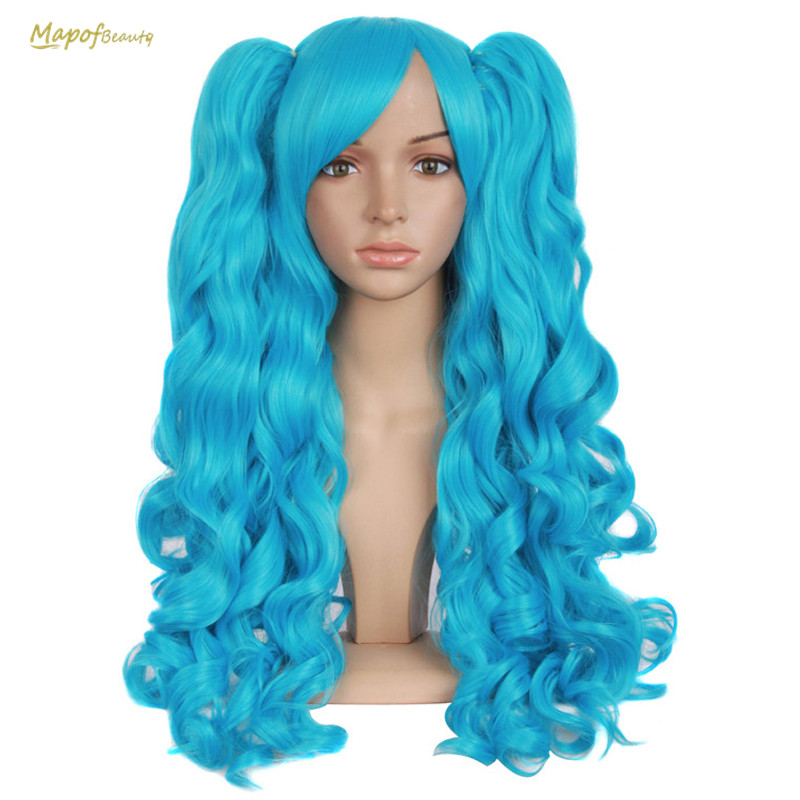 28 Quot Long Wavy Cosplay Wigs 2 Ponytails Shape Claw Black