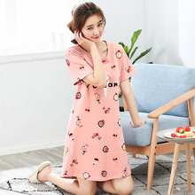 2018 New Cotton Nightgown Women Sweet Girl Lounge Cute Nightdress Sleepwear Summer Home Dress Casual Nightwear Sleepshirts Shirt